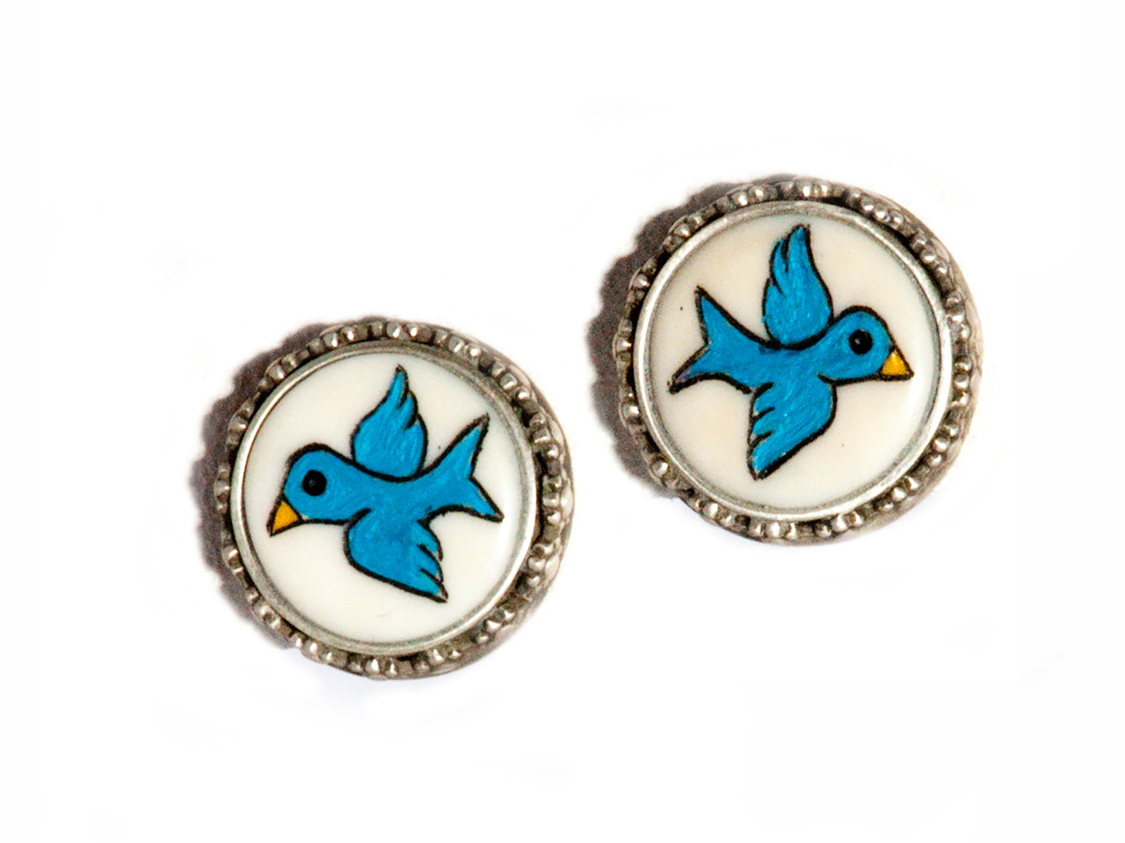 Blue Bird Cuff Links