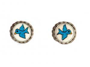 Blue Bird Post Earrings