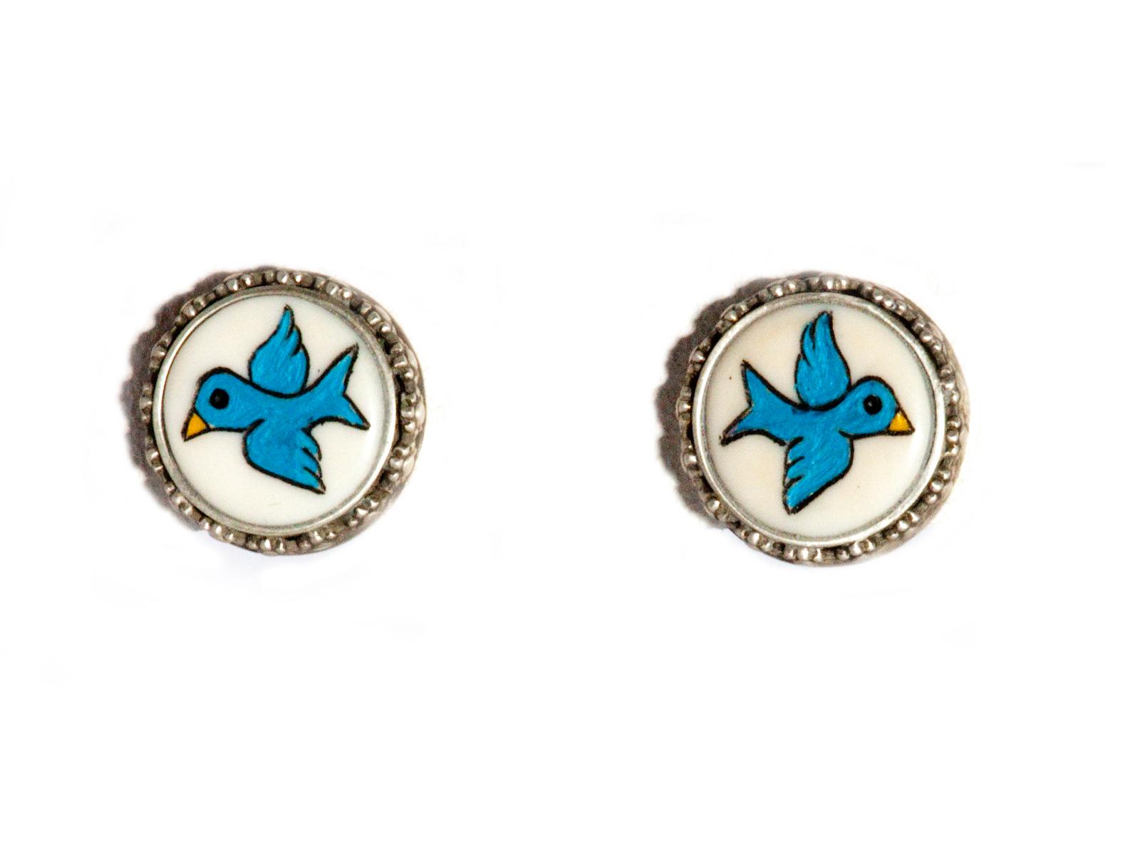 Blue Bird Post Earrings