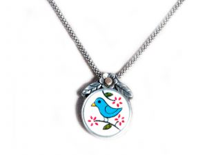 Hand Carved Blue Bird Pendant on Chain