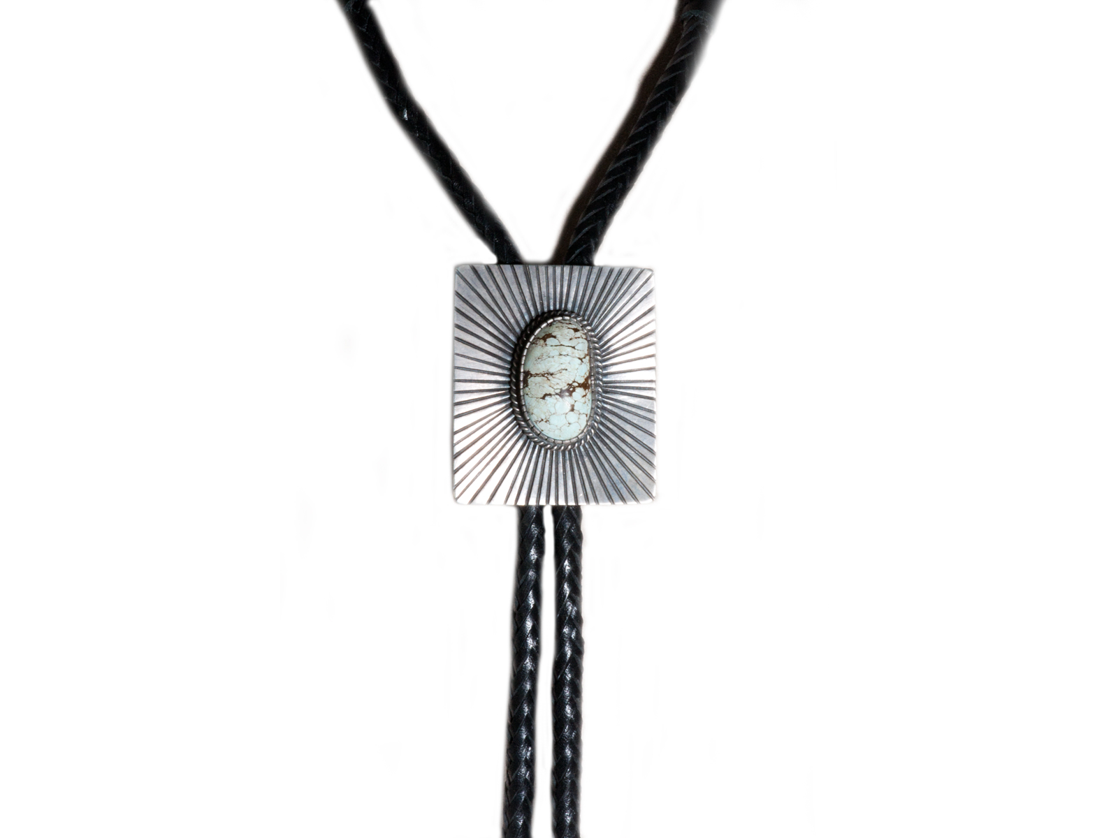 Silver Lightning Man Turquoise Bolo Tie