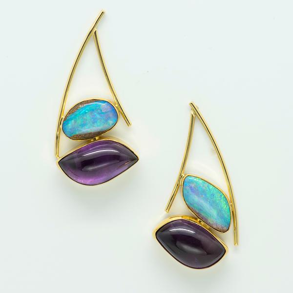 Boulder Opal Amethyst Earrings