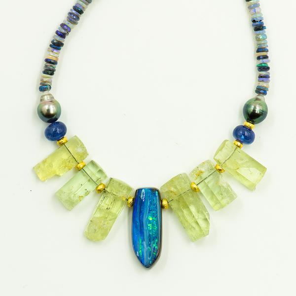 Beryl Pearl Boulder Opal Beaded Necklace
