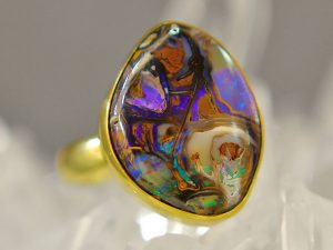 Boulder Opal Gold Ring