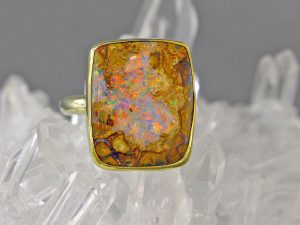 Gold Ring with Boulder Opal