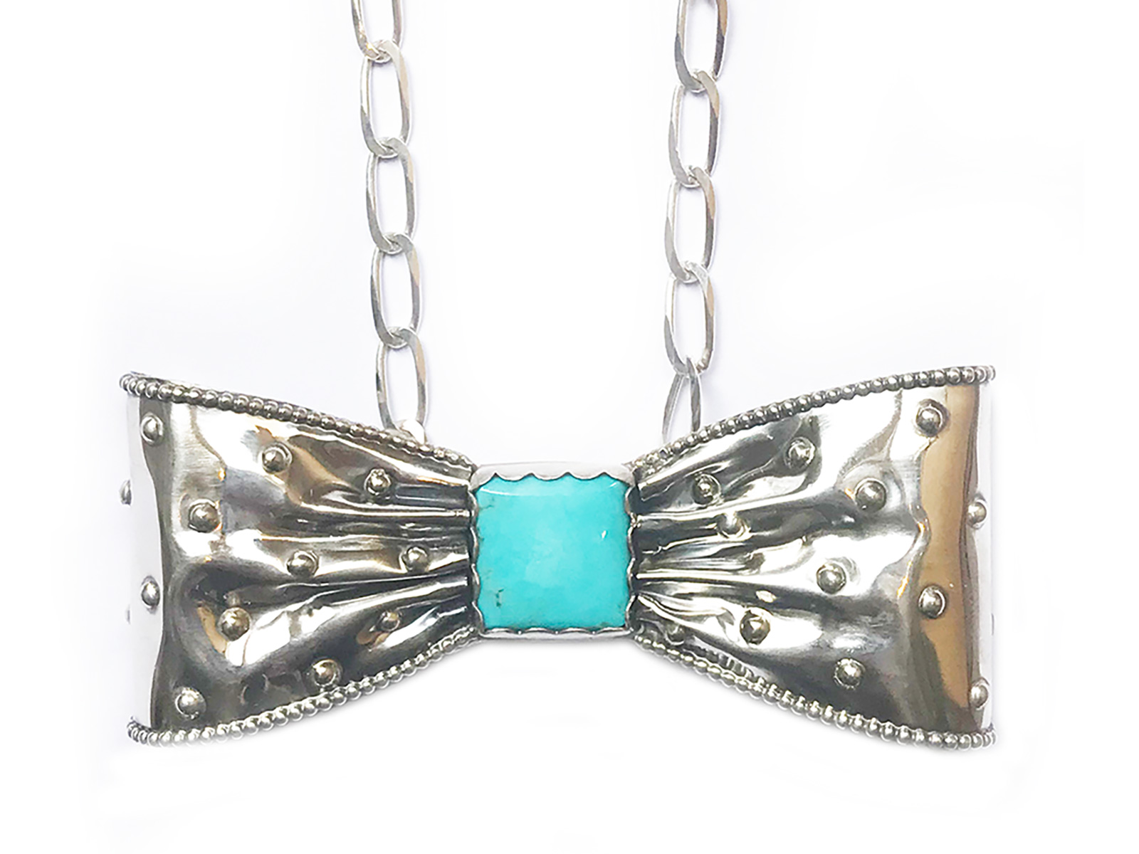 Sterling Silver Turquoise Bow Tie Necklace