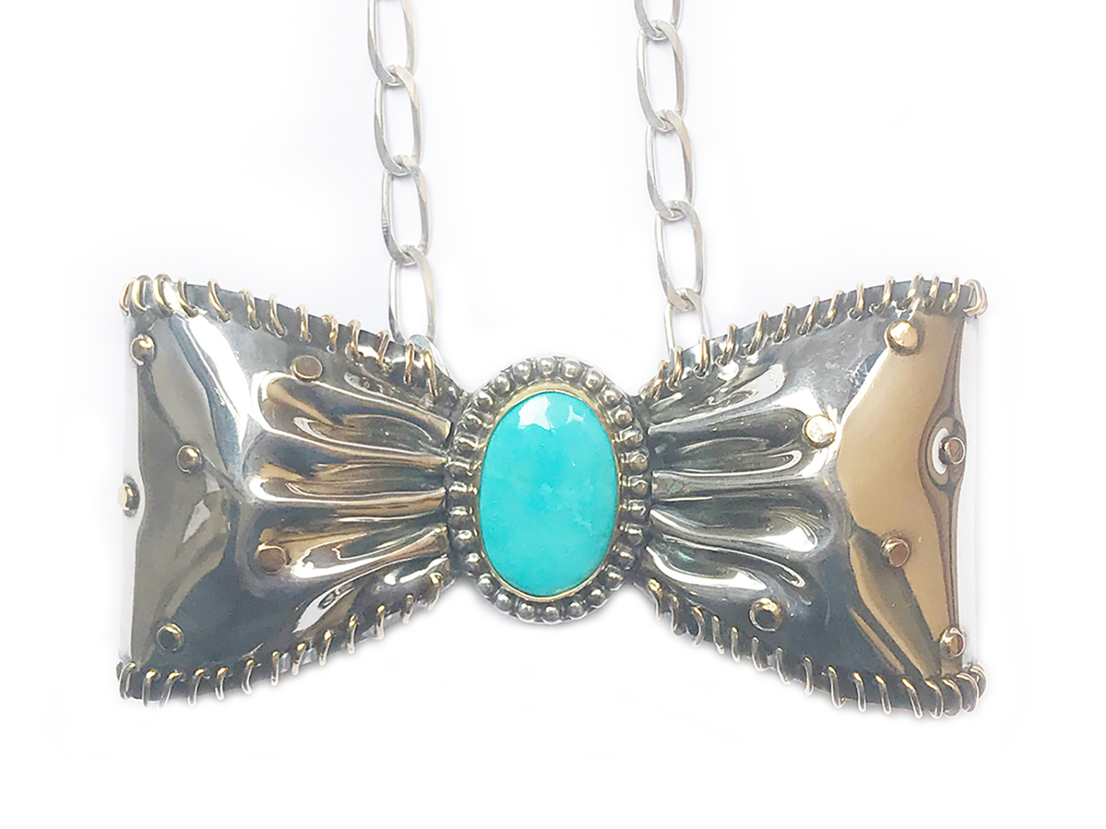 Silver Gold Turquoise Bow Tie Necklace