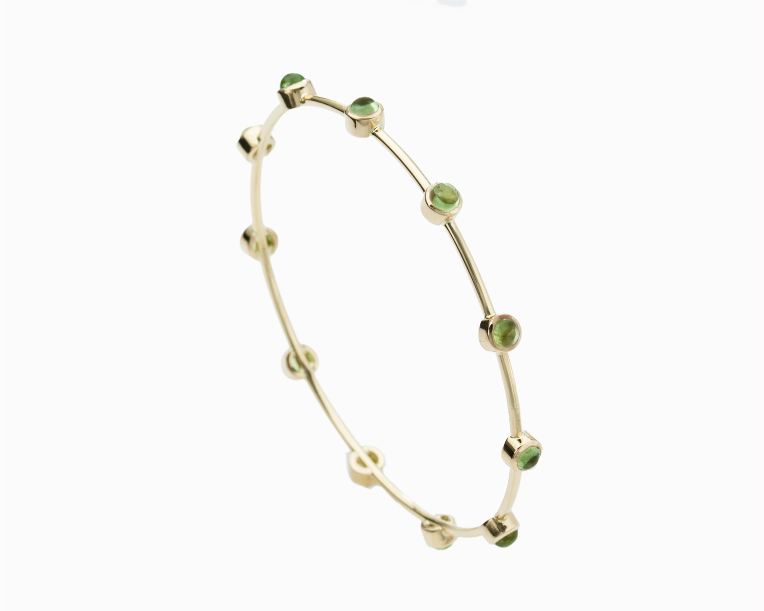 18k Gold Peridot Bangle Bracelet