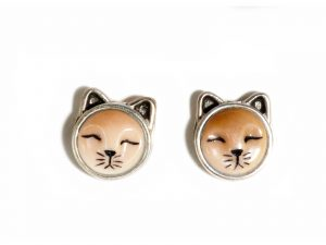 Brown Cat Earrings