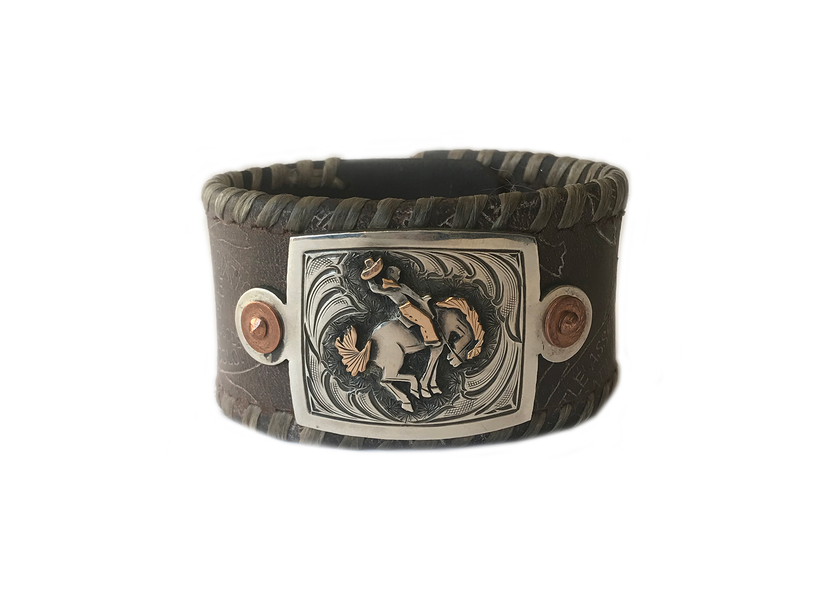 Leather Silver Gold Bucking Horse Bracelet