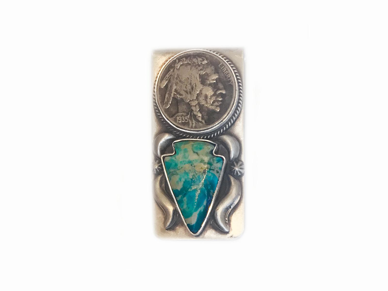 Buffalo Coin Turquoise Money Clip