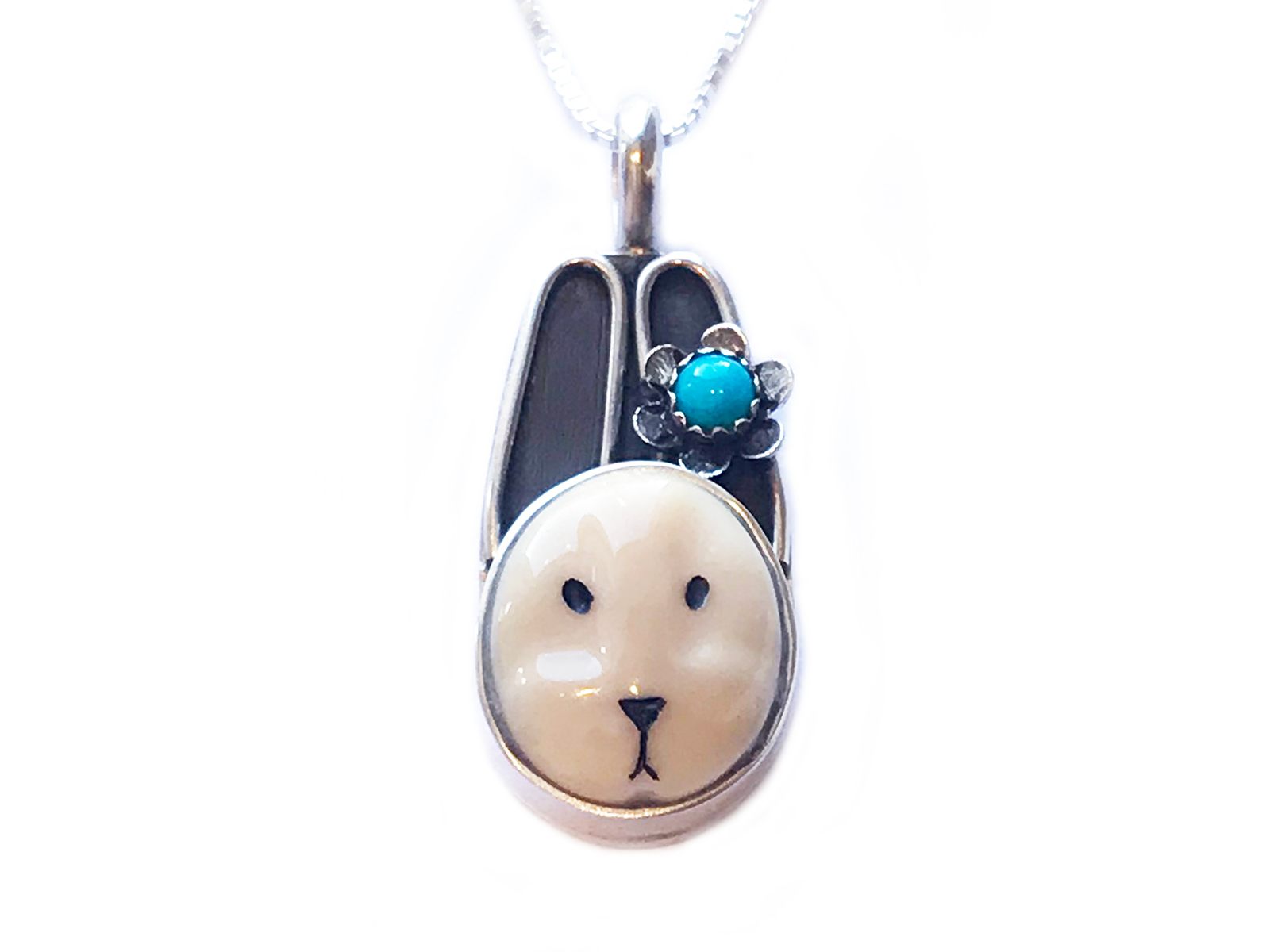 Bunny with Turquoise Flower Necklace