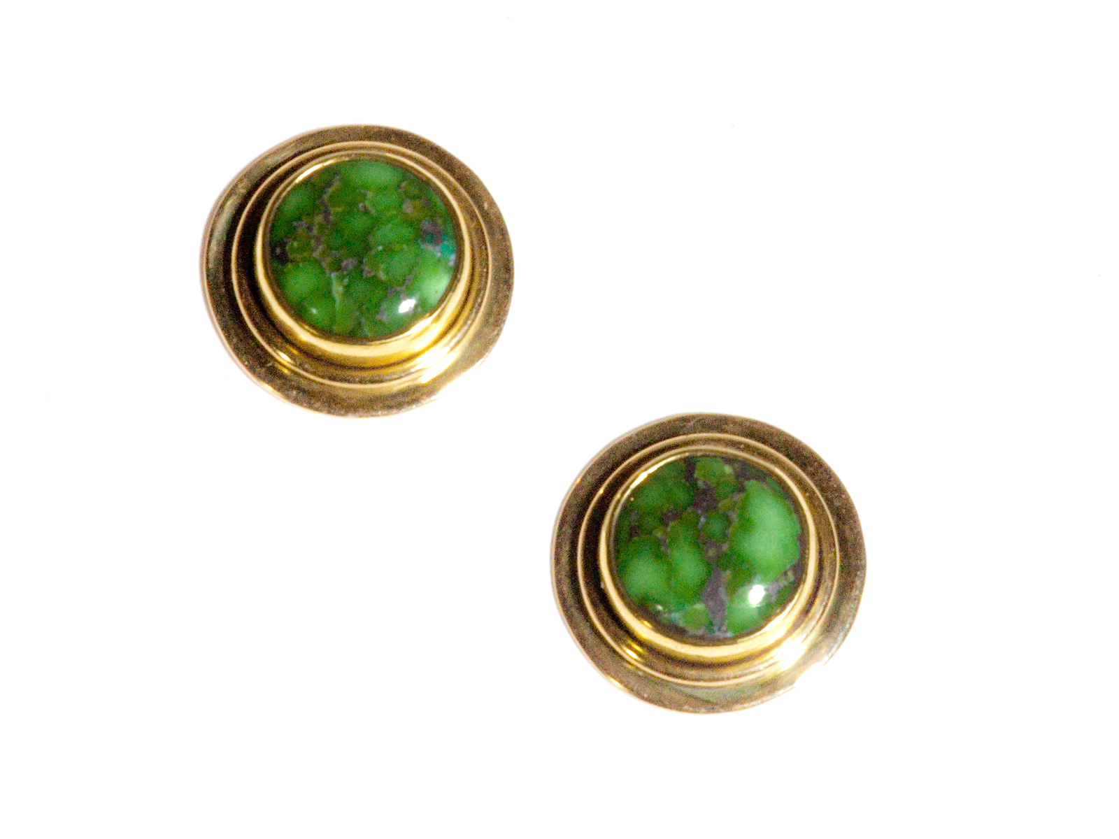 Gold Carico Lake Turquoise Round Post Earrings