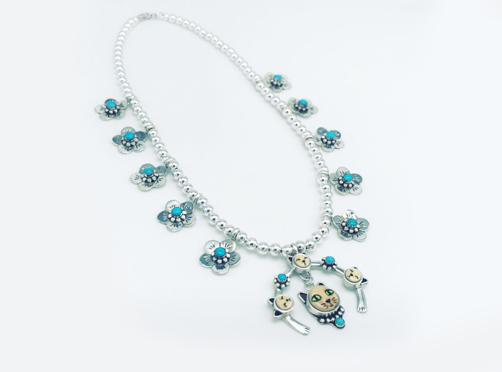 One Of A Kind Kitty Squash Blossom Necklace
