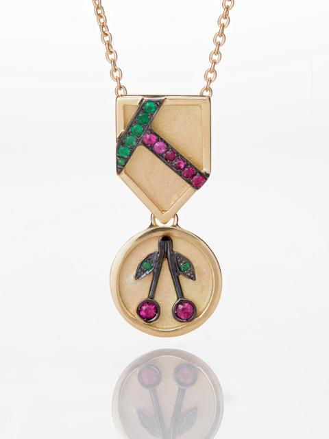 Cherry Medal Necklace