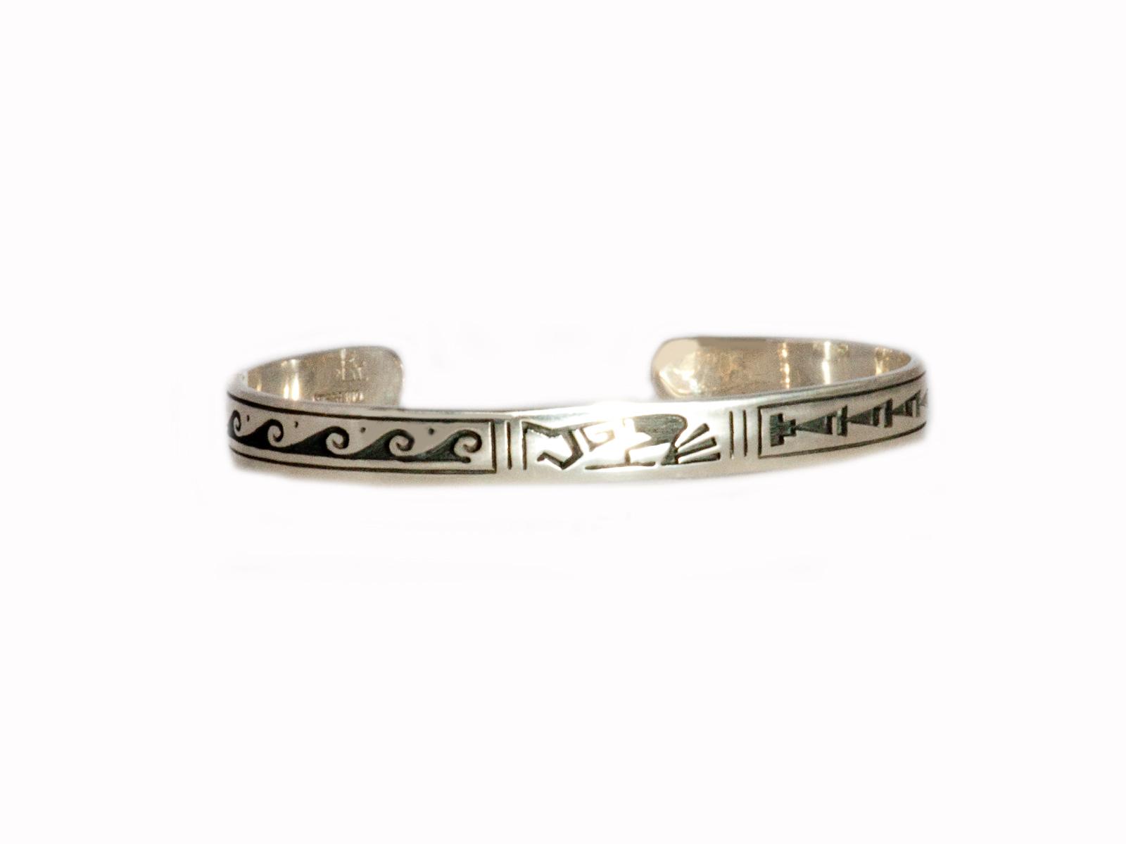 Kokopelli Thin Silver Cuff