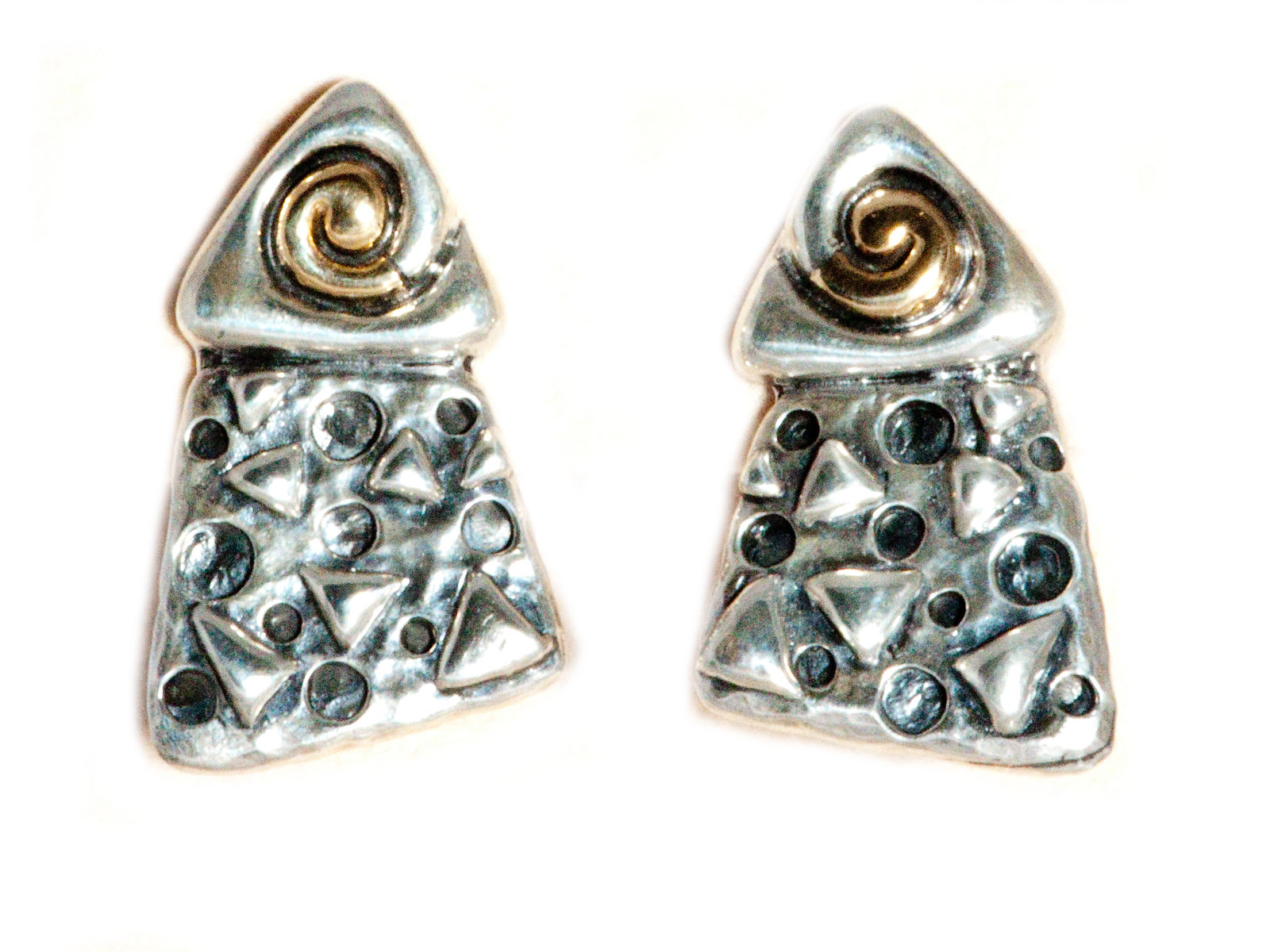 silver gold triangular clip earrings made by dian malouf
