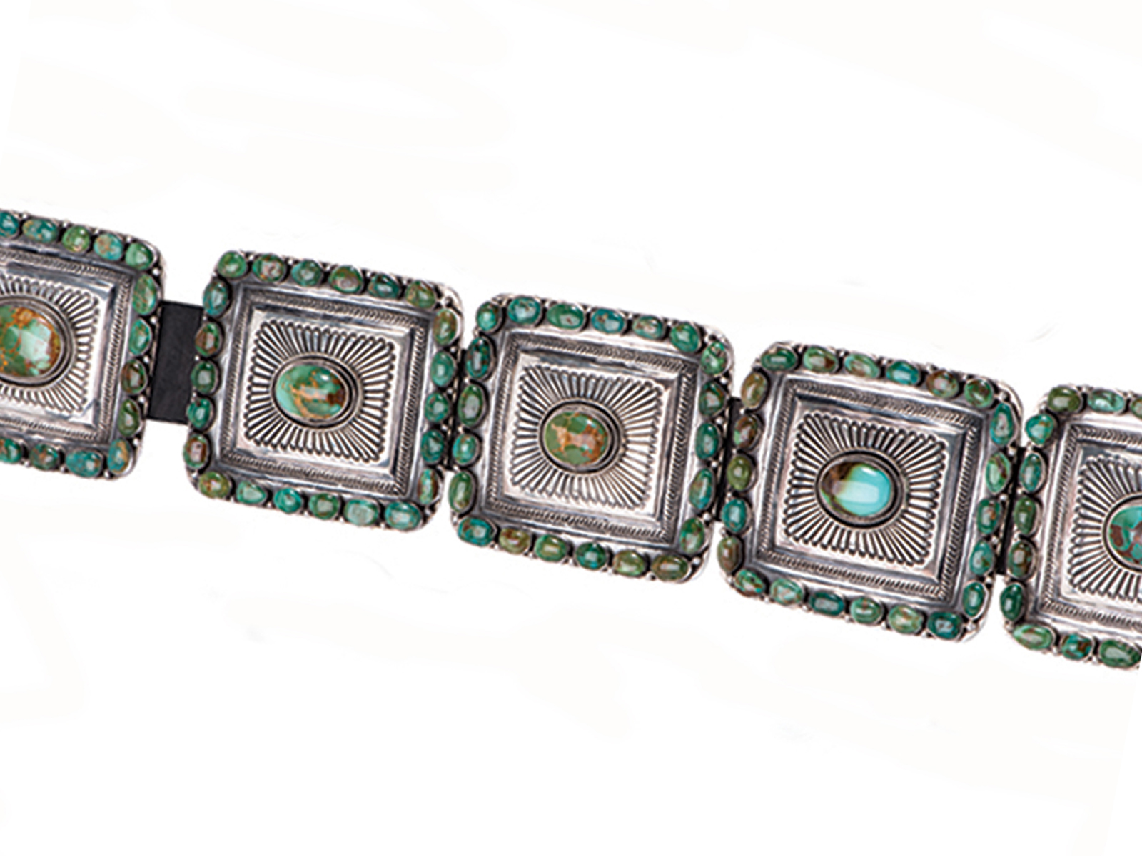 Concho Belt In Sterling Silver With Royston Turquoise