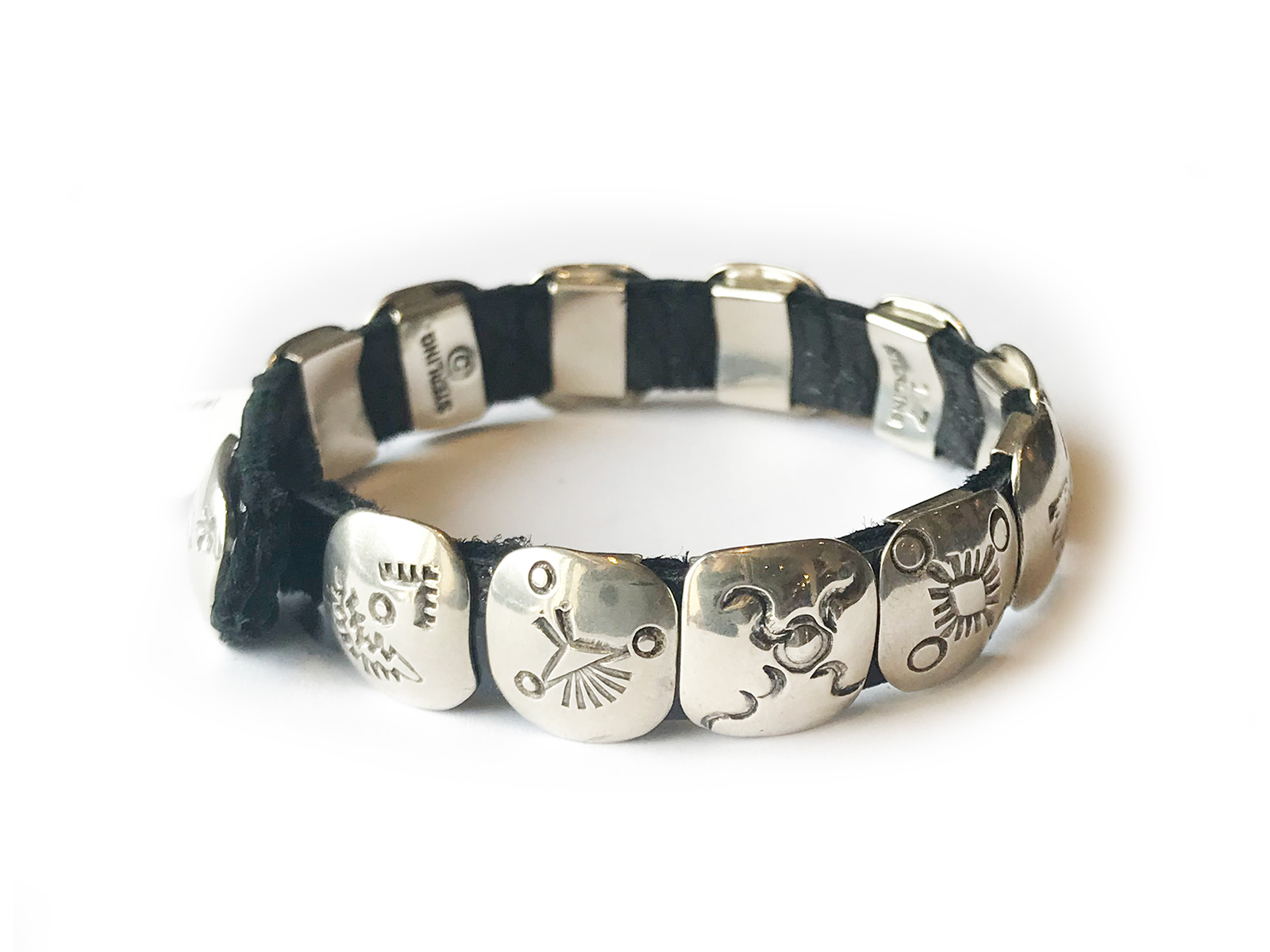 Silver Concho Leather Bracelet