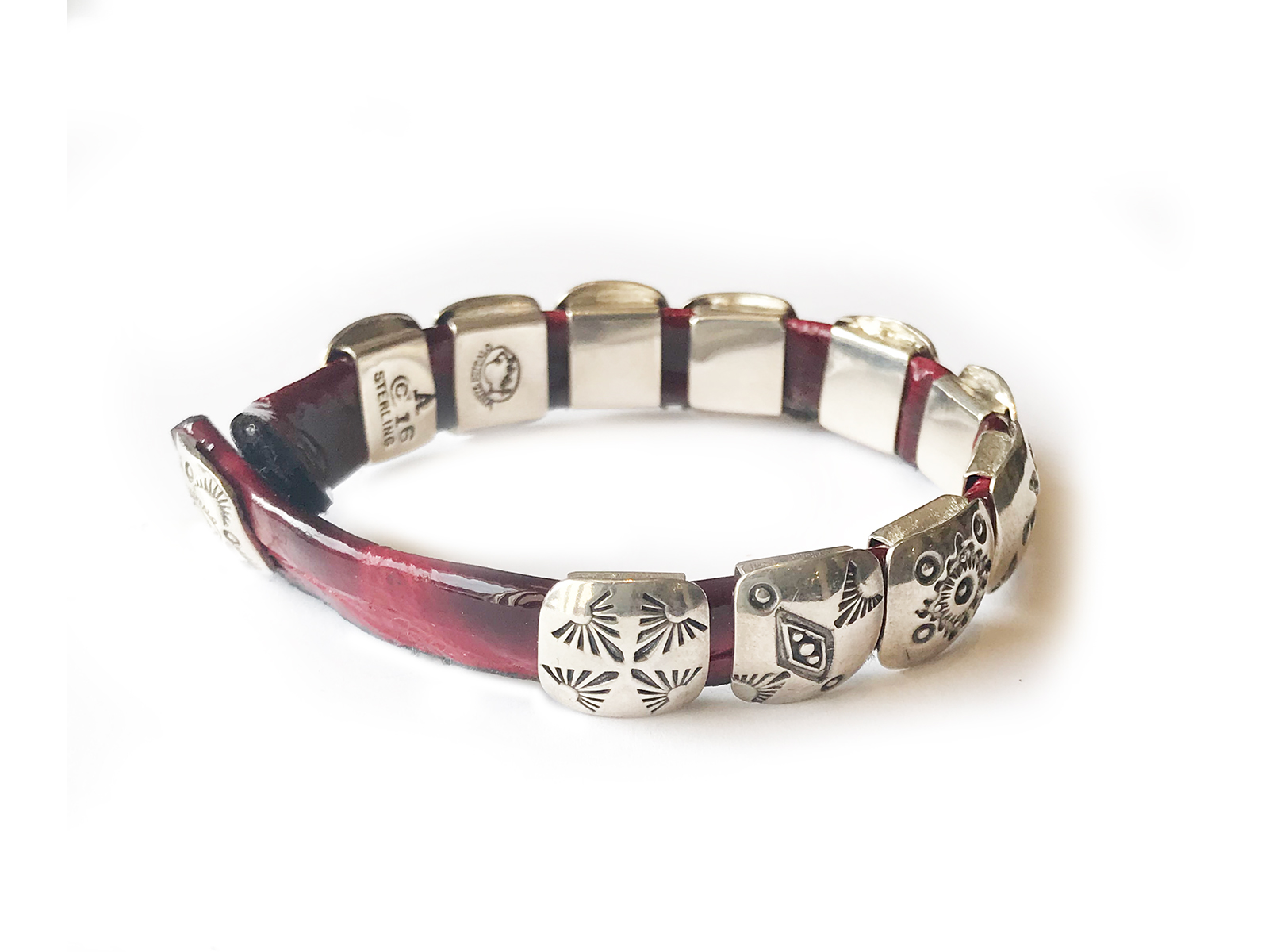 Silver Concho Red Leather Bracelet