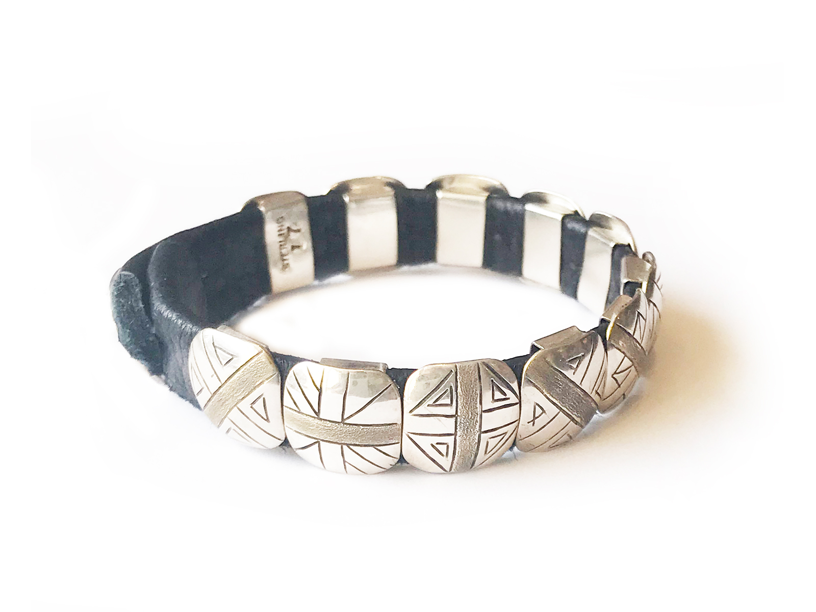 Handmade Silver Concho Leather Bracelet