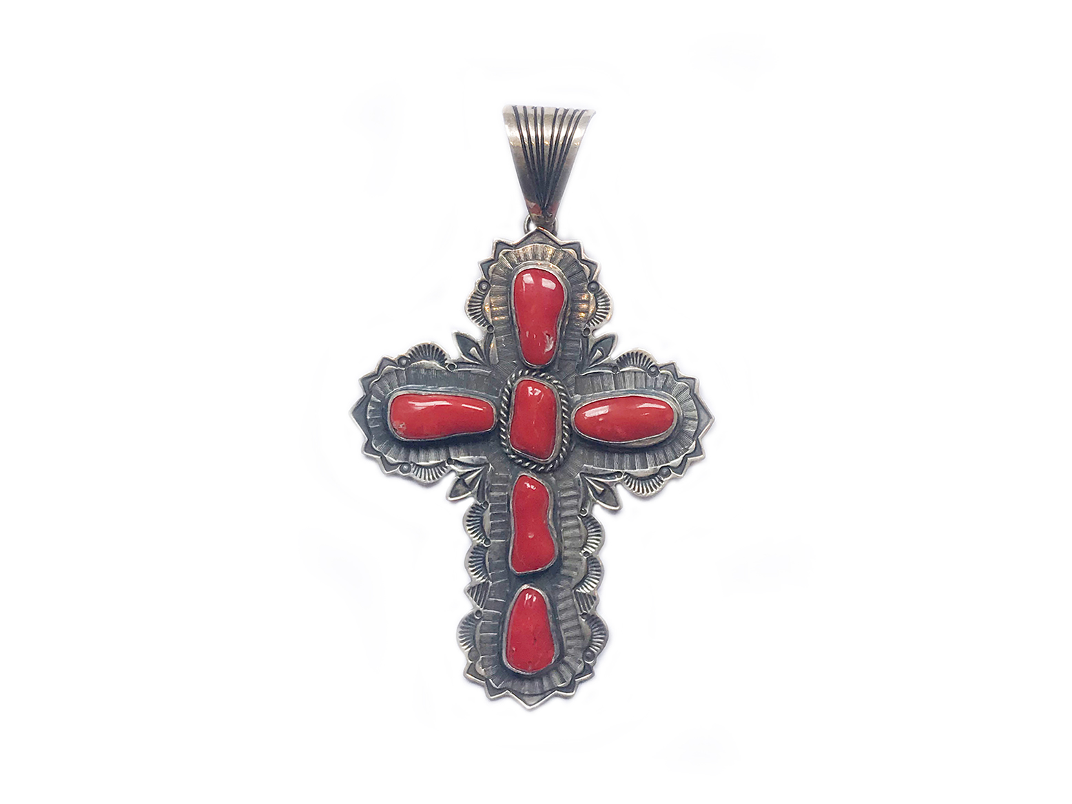 Stamped Silver Red Coral Cross
