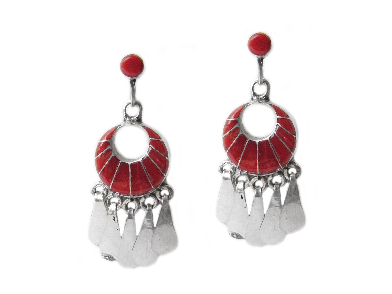 Coral Inlay Earrings