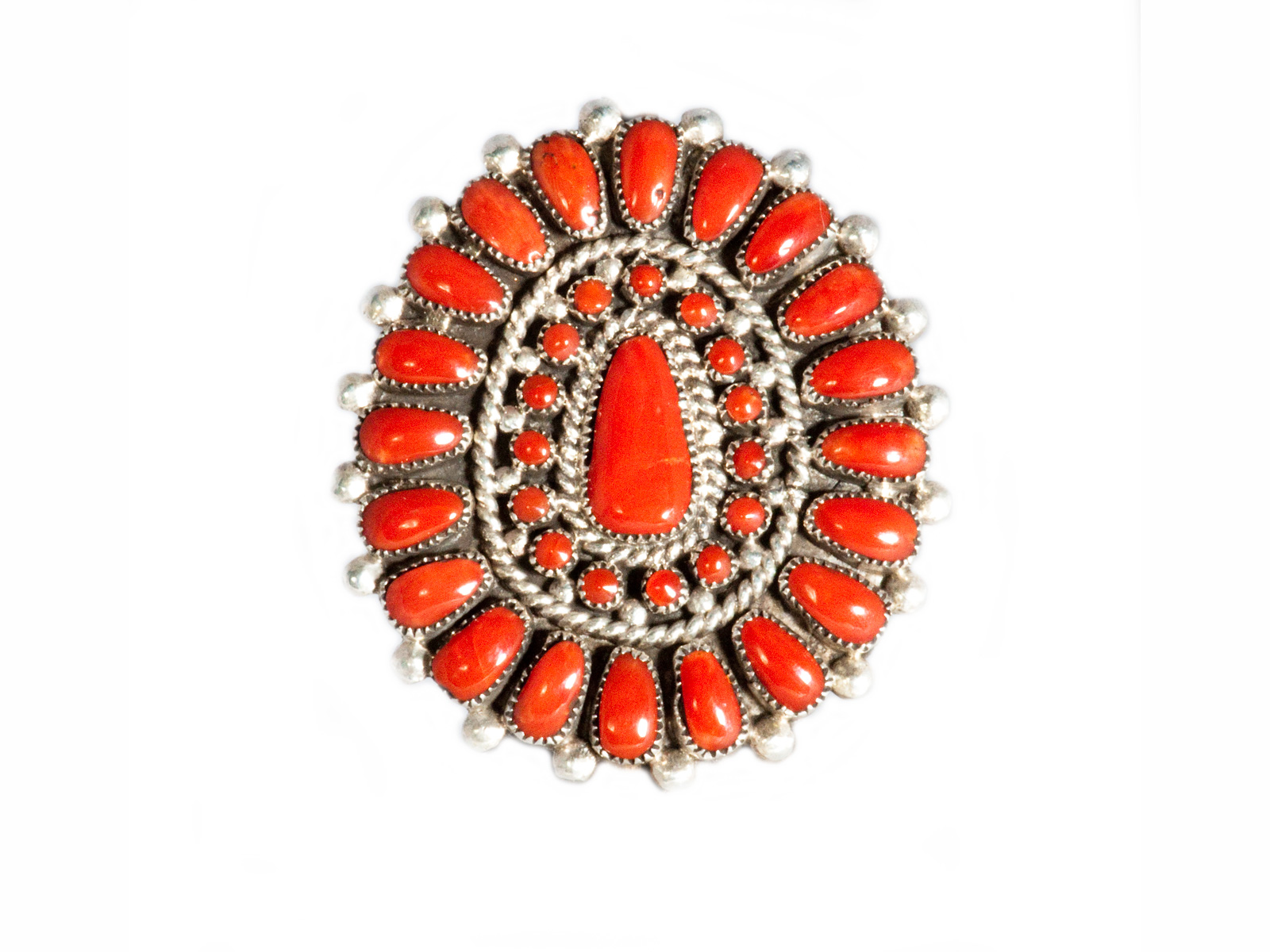 Large Coral Cluster Ring handmade.