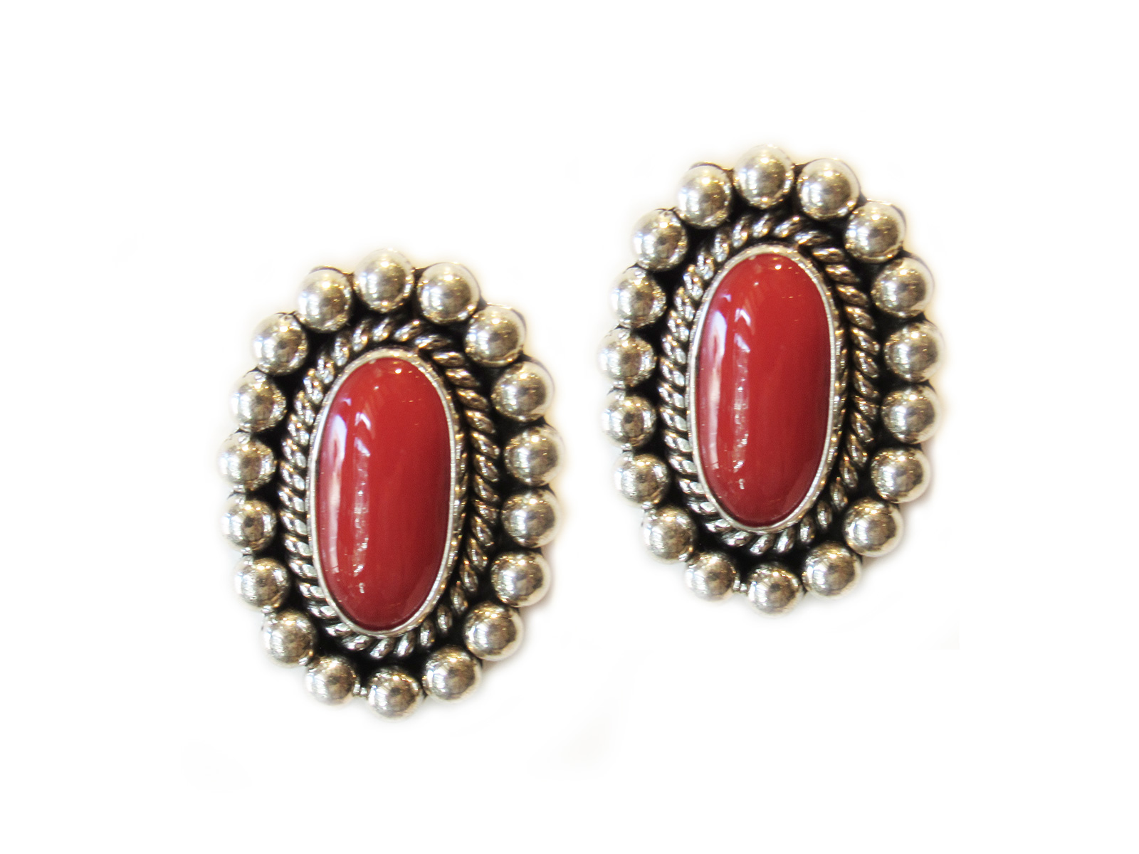 Coral-Silver-earrings