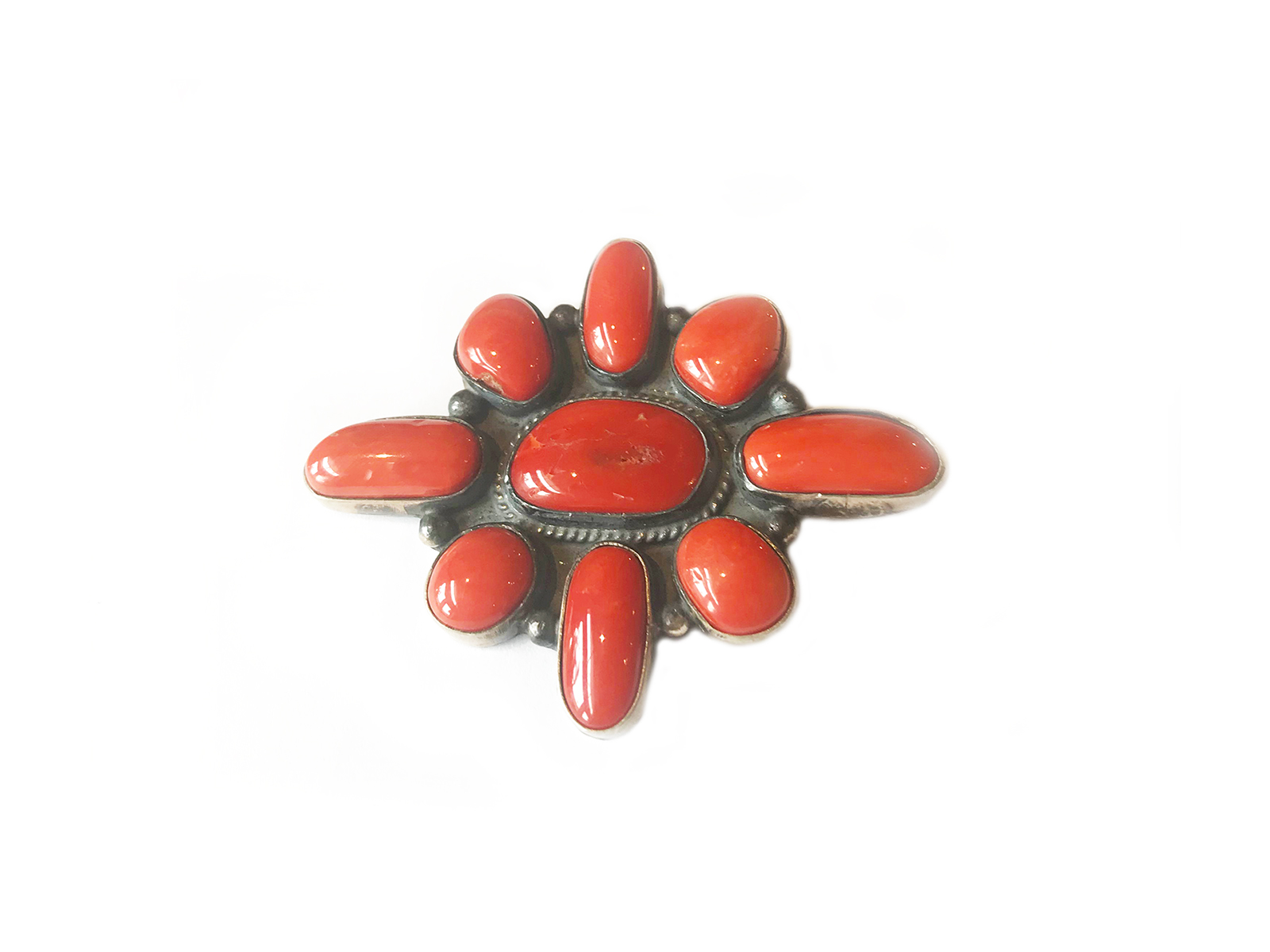 Sterling Silver Coral Pin
