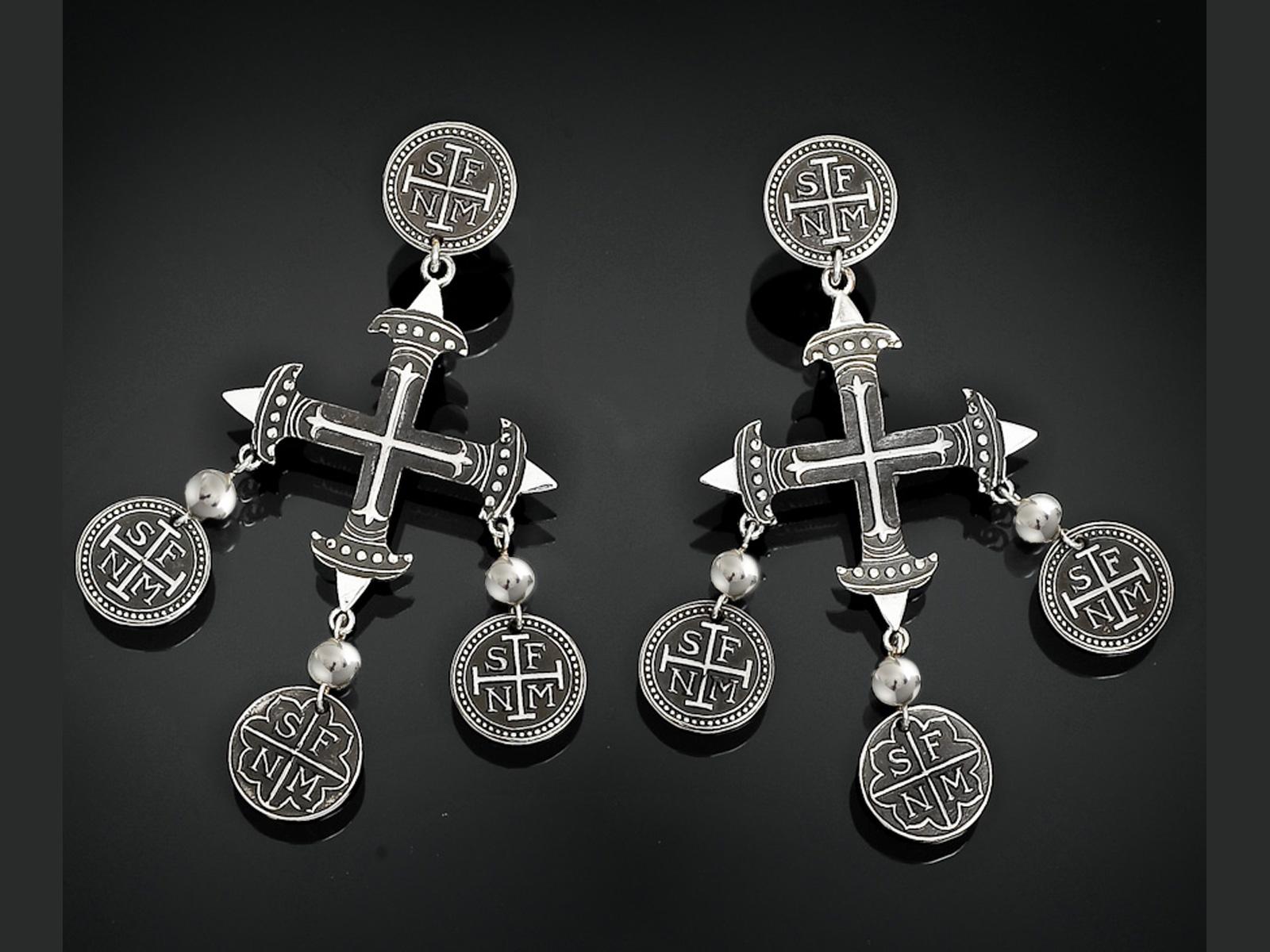 Cross chandelier dangle earrings handmade by artist douglas magnus cross chandeliers dangle earrings aloadofball Image collections