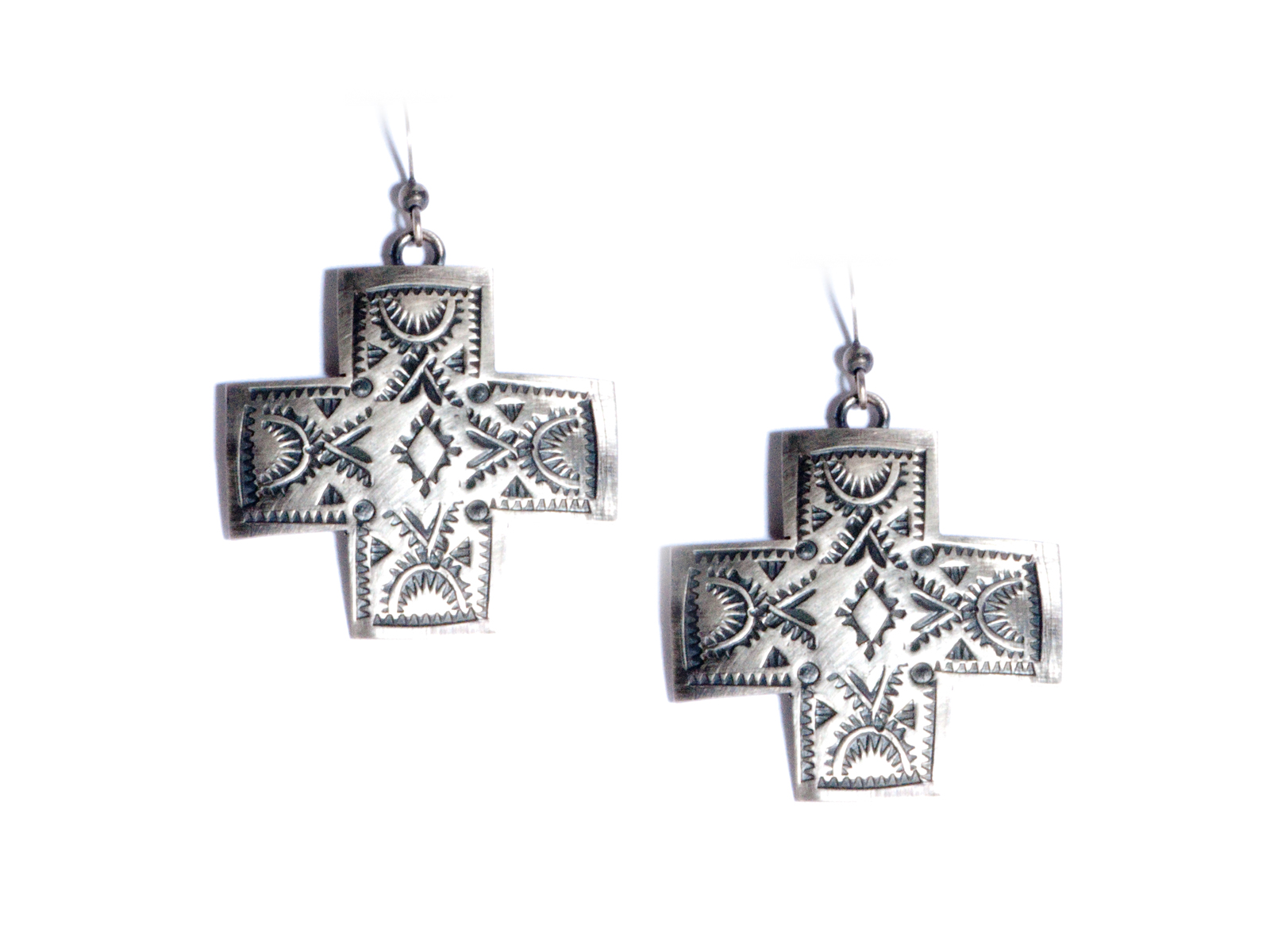 Silver Cross Paths Dangle Earrings
