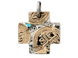 Handmade Sleeping Beauty Turquoise Cross Pendant