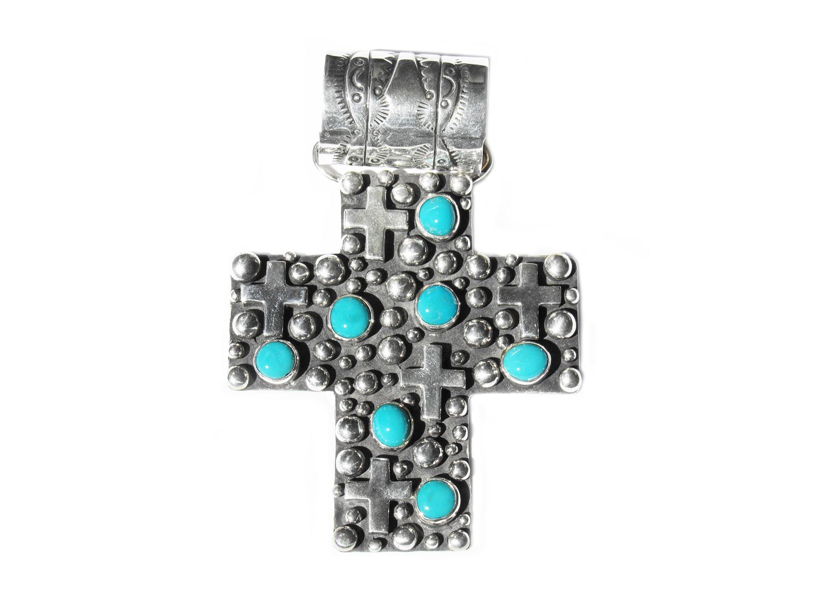 Sterling Silver Cross Studded