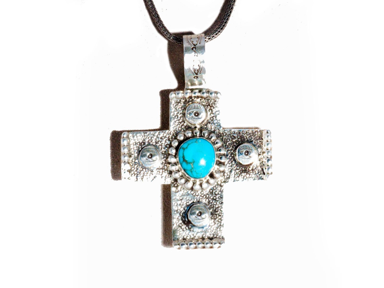 Cross pendant in sterling silver with turquoise center stone cross pendant aloadofball Image collections