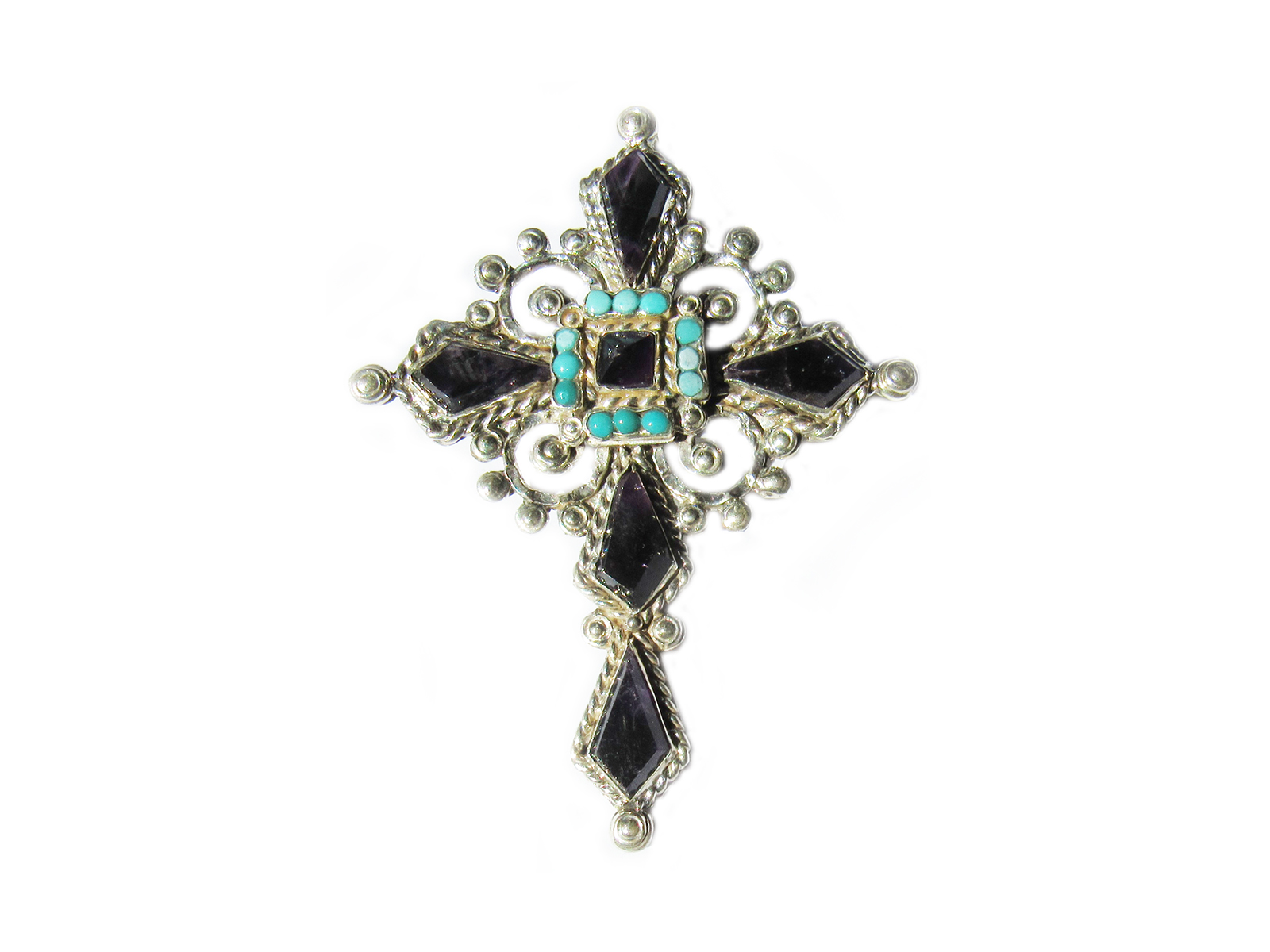 Faceted Amethyst and Turquoise Cross Pin/Pendant