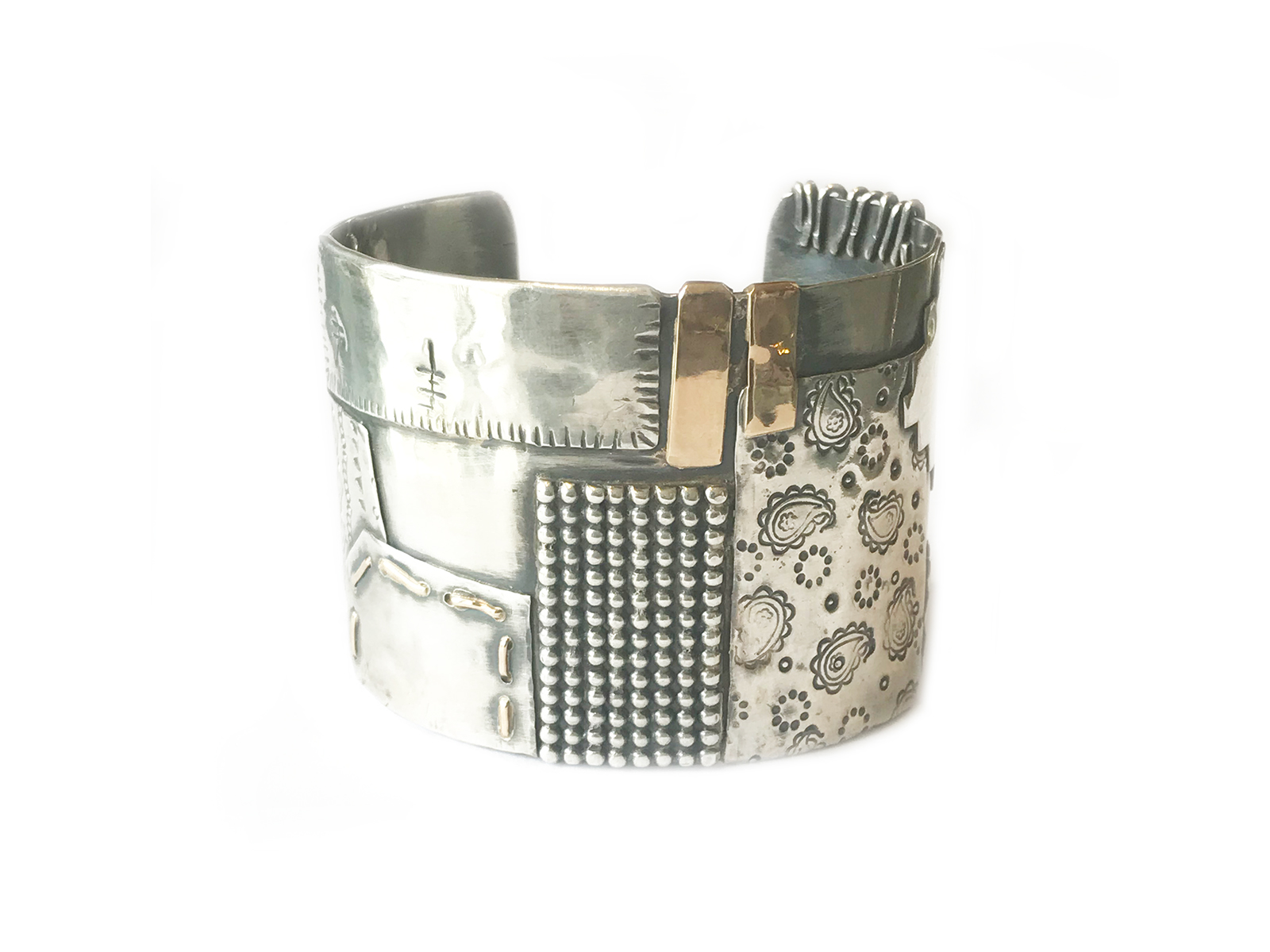 Silver Gold Patch Work Cuff
