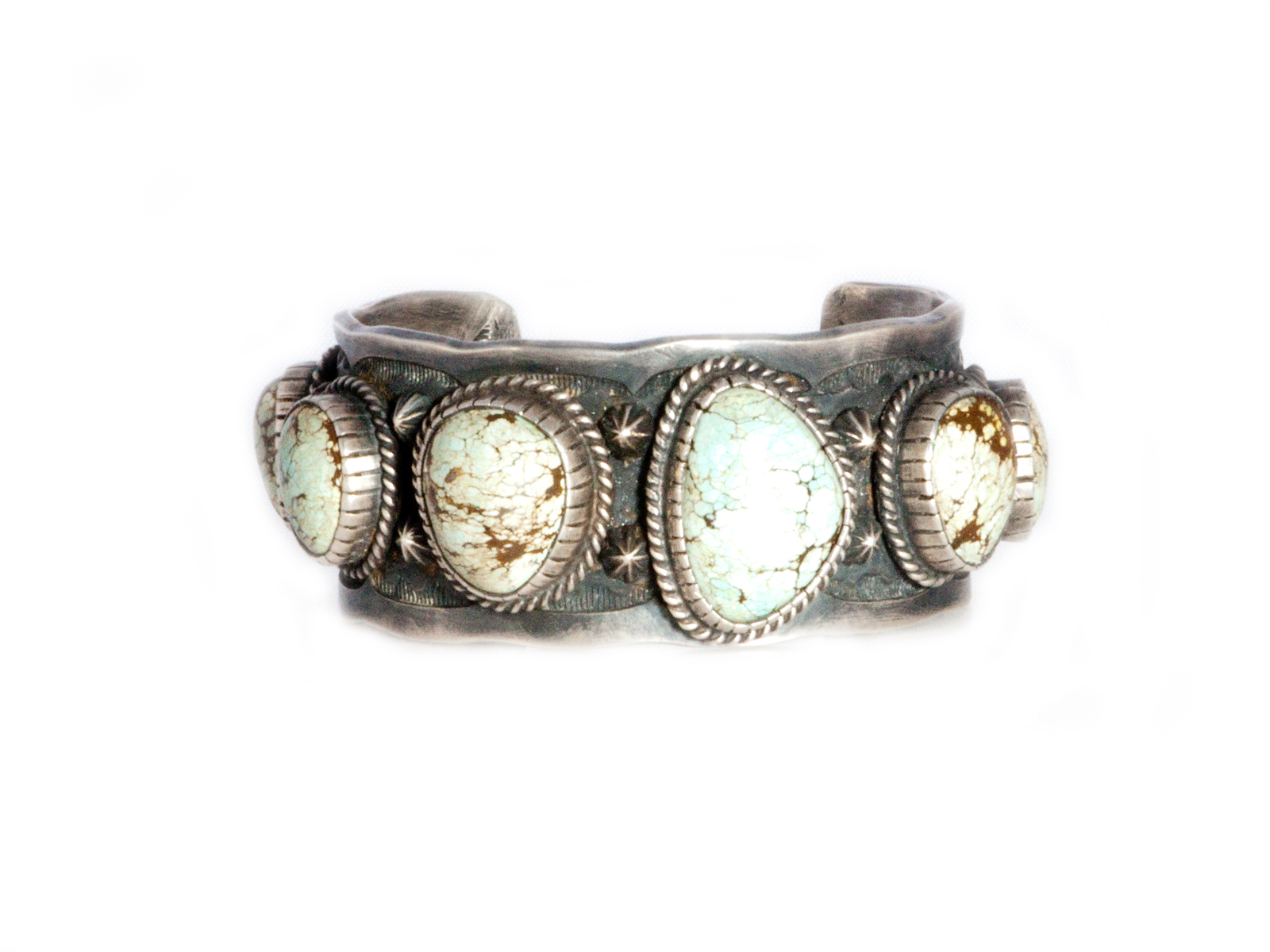 Silver Lightning Man Turquoise Cuff