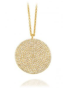 14k Gold Pave Diamond Pendant on Chain