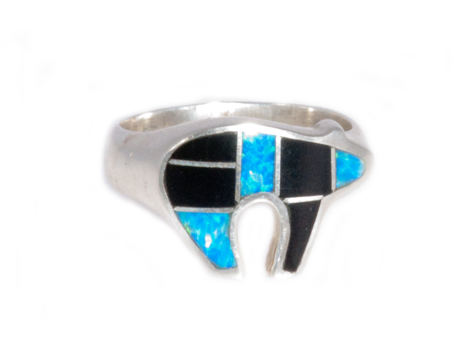 b16484209a93e2 Inlay Bear Ring hand crafted by New Mexico artist David Rosales Designs.