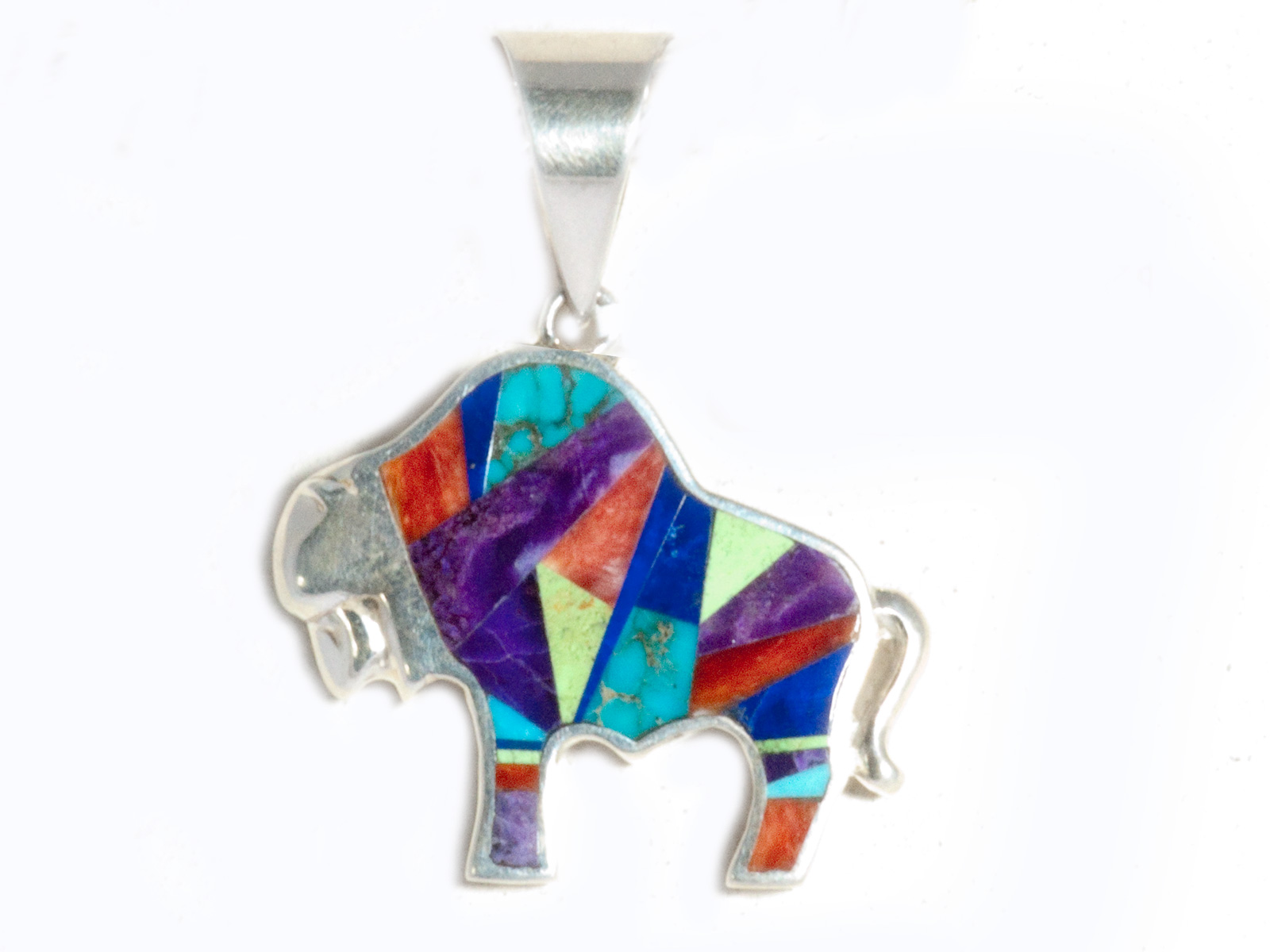 Indian Summer Inlay Buffalo Pendant