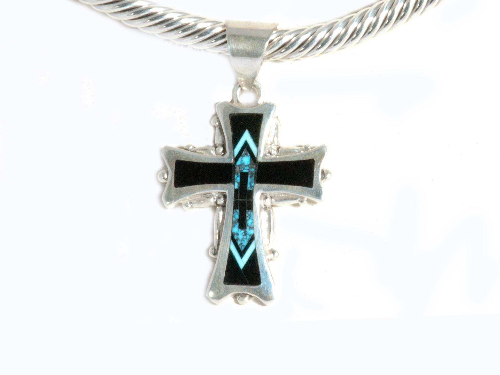 Ithica Peak Turquoise Black Jade Inlay Cross pendant