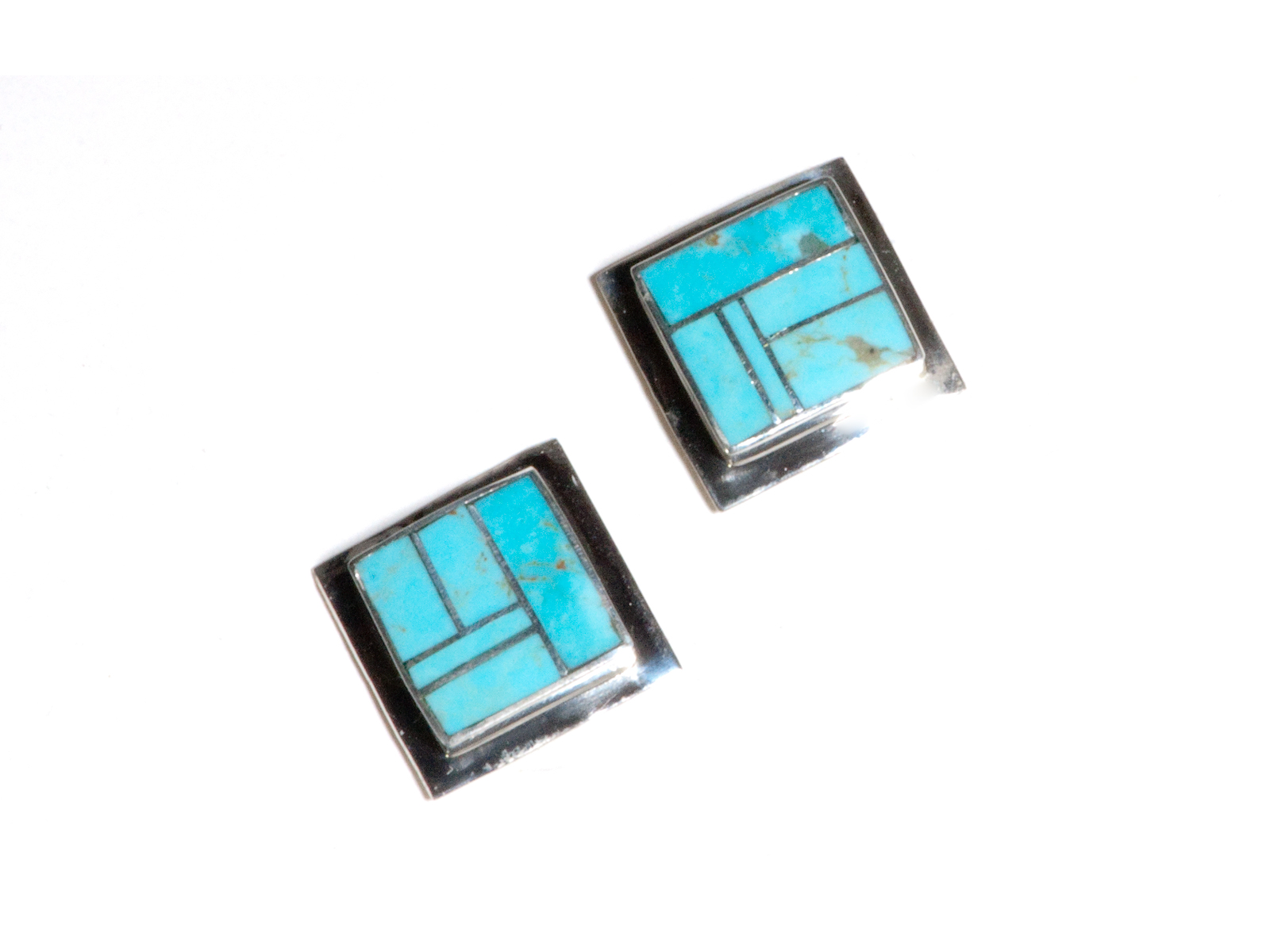 Square Inlay Turquoise Earrings