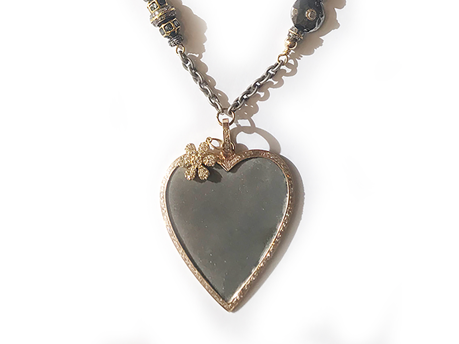 Silver Gold Diamond Heart Flower Necklace