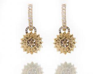 Diamond Sunflower Ear Charms
