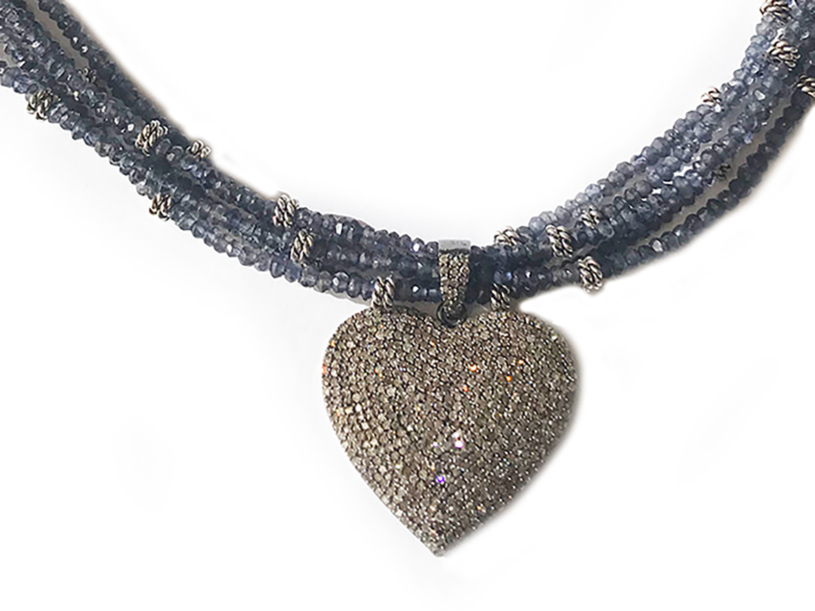 Iolite Pave Diamond Heart Necklace