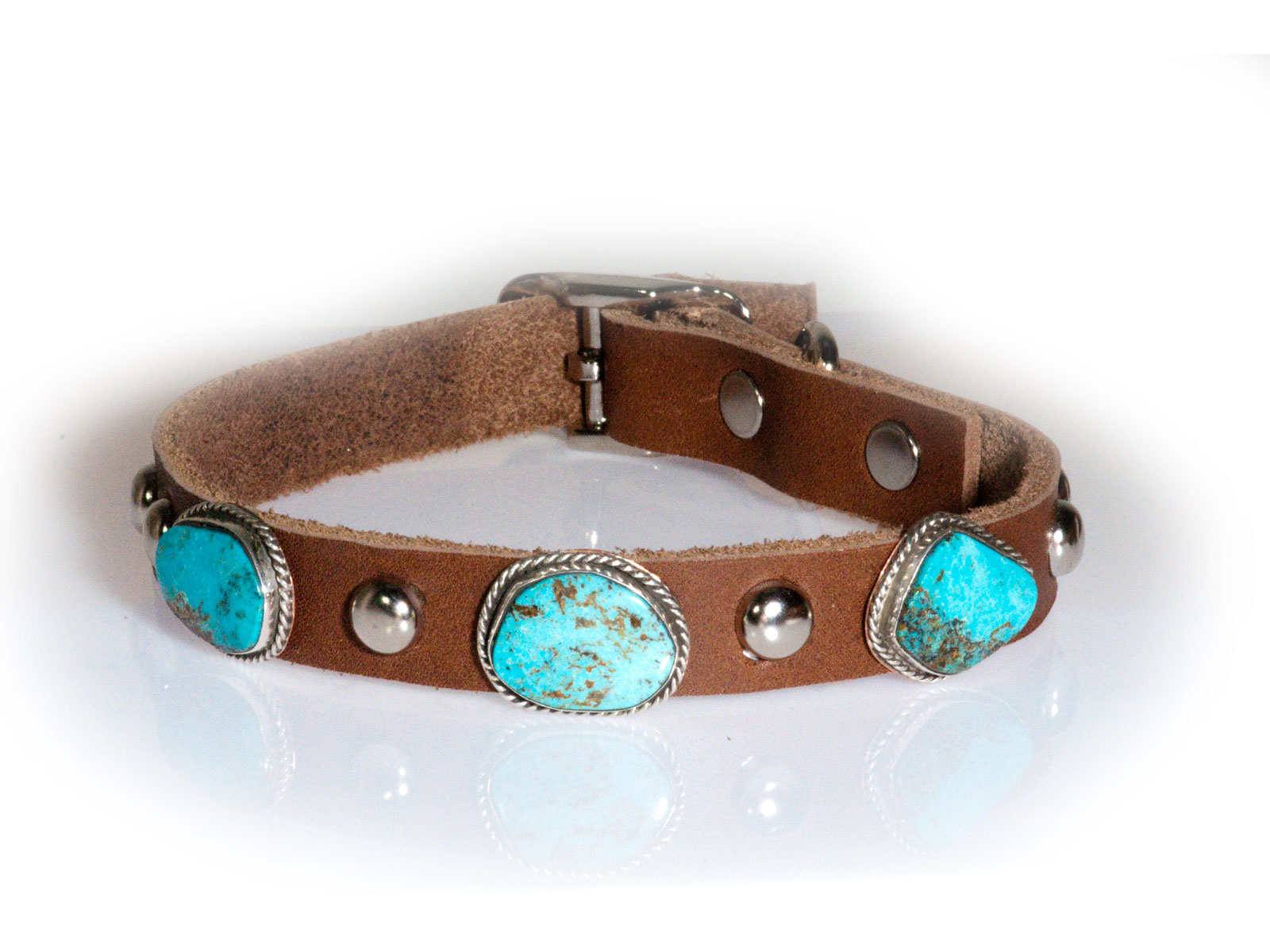 Turquoise 3 Stone Leather Dog Collar