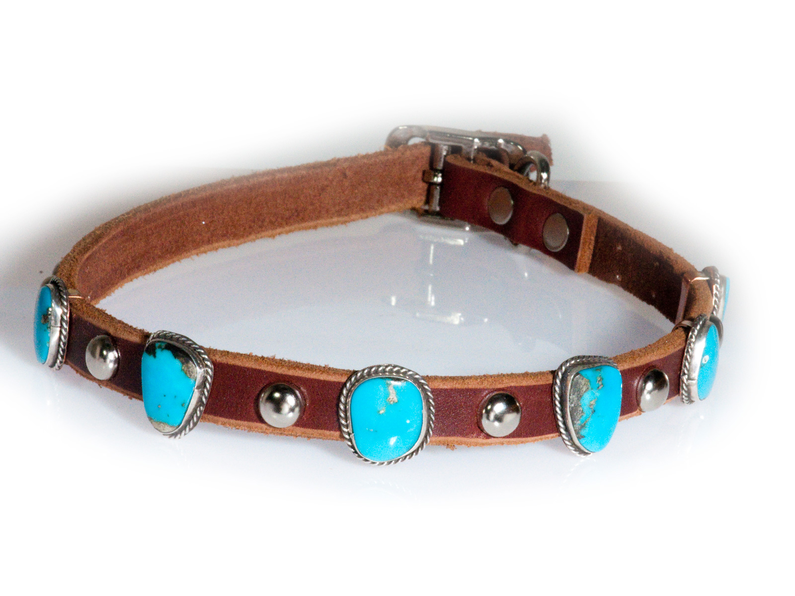 Turquoise 6 Stone Leather Dog Collar