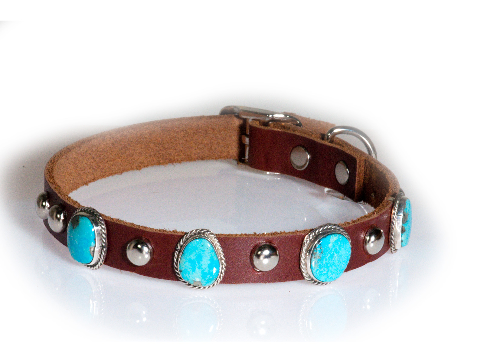 4 Stone Turquoise Leather Dog Collar