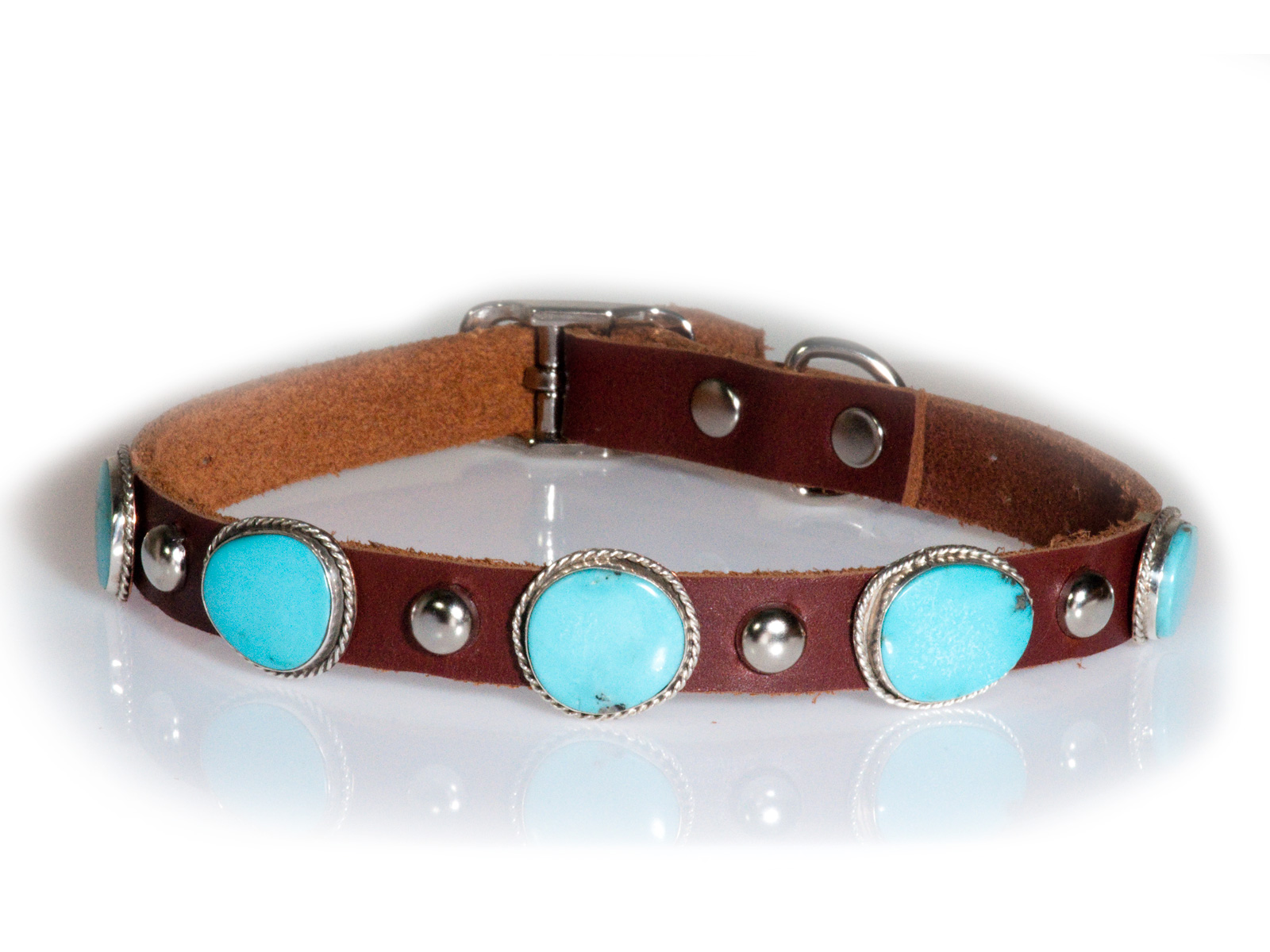 5 Stone Turquoise Leather Dog Collar